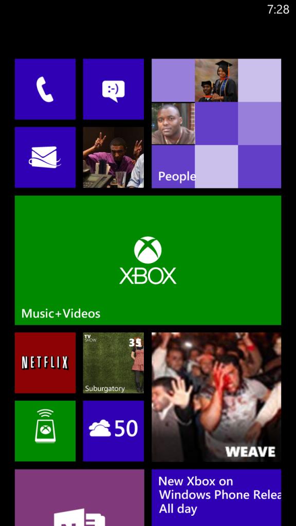 Home Screen on Windows Phone 8