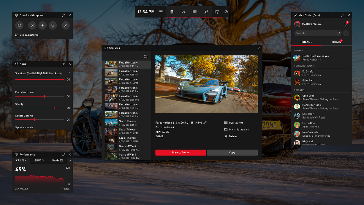 New Xbox Game Bar Update for Windows 10 delivers the loot